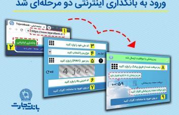 ورود به سامانه بانکداری اینترنتی بانک تجارت دو مرحله ای شد